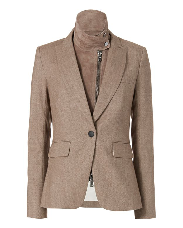 Veronica Beard Suede Elbow Patch Dickey Insert Blazer
