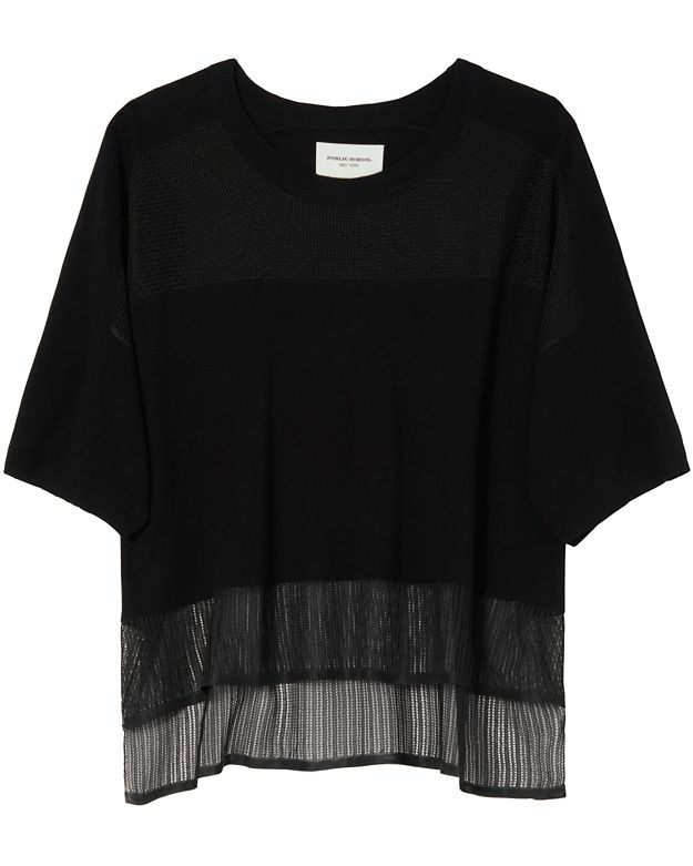 Public School Pointelle Tee: Black