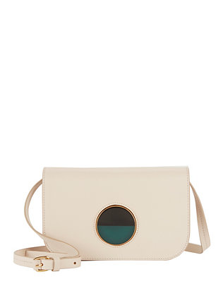 Circle Clasp Ivory Leather Crossbody