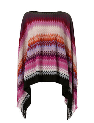 Missoni Fringe Trim Chevron Knit Poncho