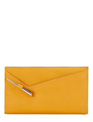 Mugler Starla Zip Suede Clutch: Yellow