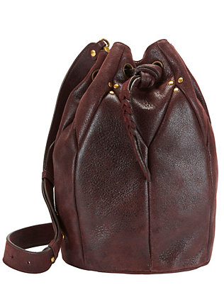 Jerome Dreyfuss Popeye Grommet Leather Bucket Bag: Wine