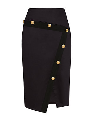 Veronica Beard Gold Button Asymmetric Skirt