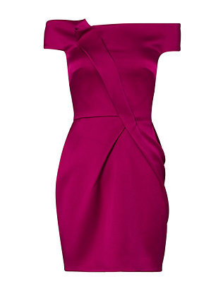 Roland Mouret Satin Off-The-Shoulder Dress