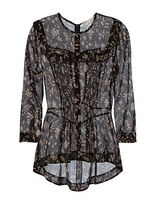Veronica Beard Printed Three-Quarter Sleeve Silk Top