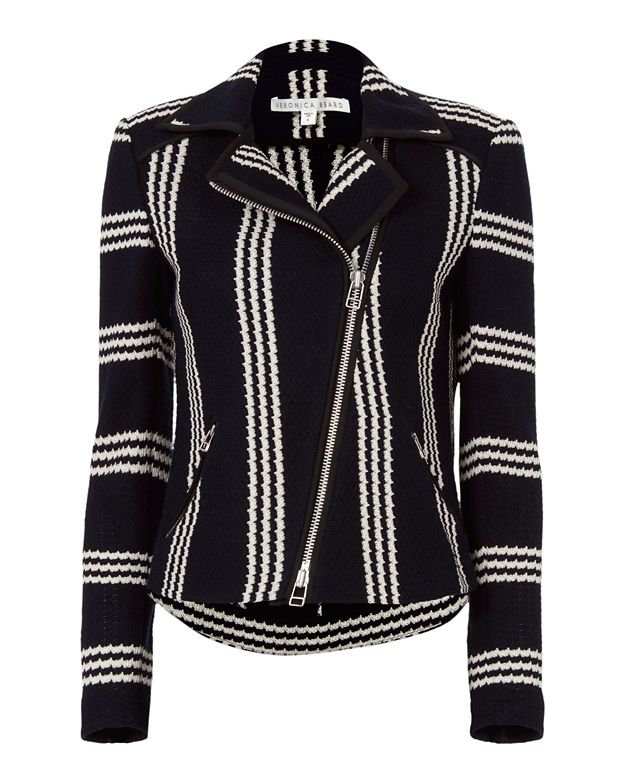Veronica Beard Bailey Striped Moto Jacket
