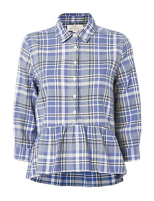 Birds of Paradis x Trovata Blue Plaid Peplum Shirt
