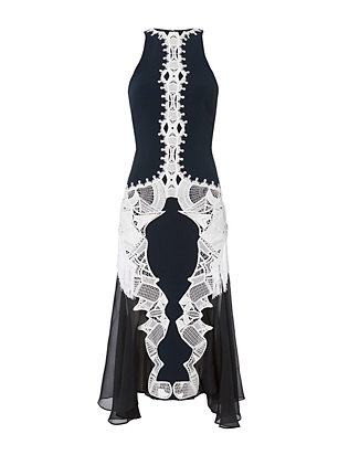 Jonathan Simkhai Contrast Lace and Fringe Dress
