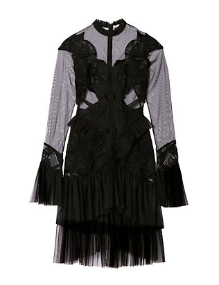 Jonathan Simkhai Ruffled Sleeve Lace Dress