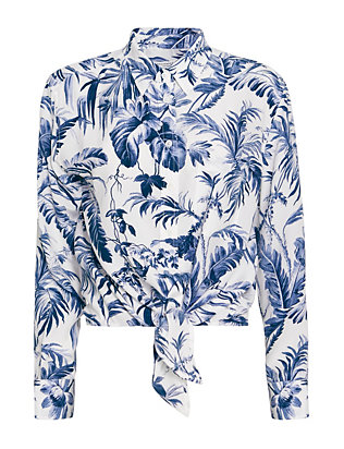 Equipment EXCLUSIVE Daddy Tie Front Leaf Print Blouse