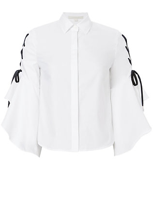 Lace-Up Sleeve Poplin Shirt