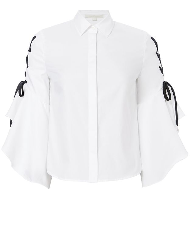Jonathan Simkhai Lace-Up Sleeve Poplin Shirt
