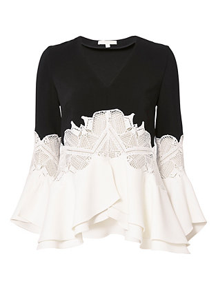 Jonathan Simkhai Ruffled Sleeve Lace Top