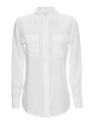 Equipment Slim Signature Double Flap Pocket Blouse: White