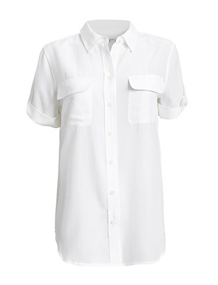 Equipment Slim Signature Double Flap Pocket Short Sleeve Blouse: White