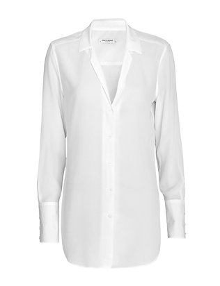 Equipment May Poplin Cuff Silk Blouse: White