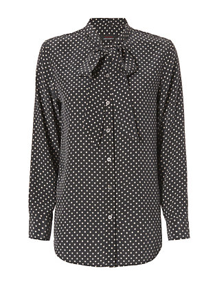 Equipment x Kate Moss Star Print Collarless Tie Blouse