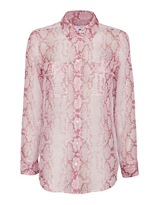 Equipment EXCLUSIVE Snake Print Slim Signature Blouse: Pink