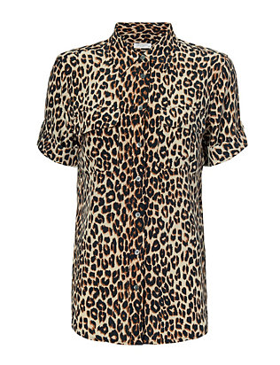 Equipment Cheetah Print Short Sleeve Blouse