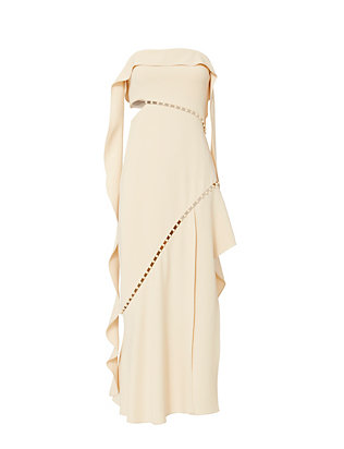 Jonathan Simkhai Pearl Studded Strapless Dress