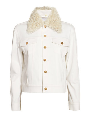 Derek Lam 10 Crosby Shearling Collar White Denim Jacket