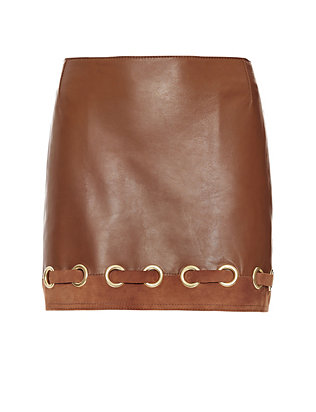 Derek Lam 10 Crosby Grommet Detail Leather Skirt