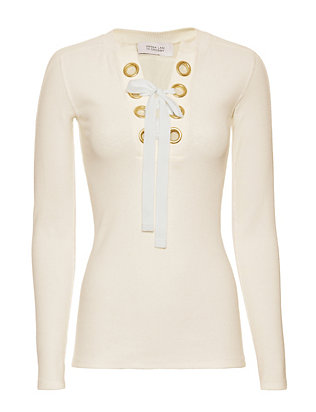 Derek Lam 10 Crosby EXCLUSIVE Grommet Lace-Up Ribbed Henley