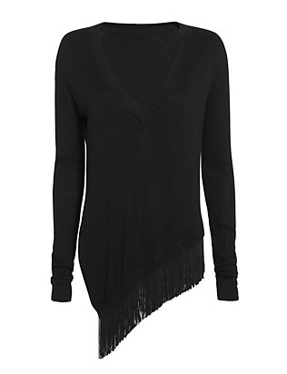 Derek Lam 10 Crosby Asymmetric Fringe Trim Sweater