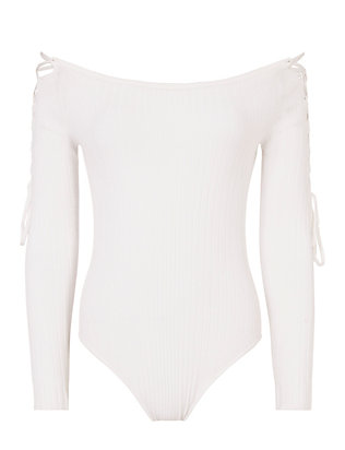 Cushnie Et Ochs Lace-Up Sleeve White Bodysuit