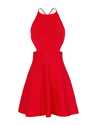 Cushnie Et Ochs Lace-Up Back Flare Knit Dress