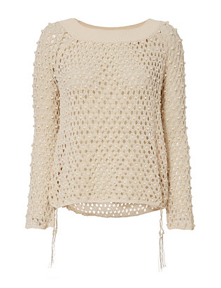 Jonathan Simkhai Cage Pearl Off-The-Shoulder Sweater