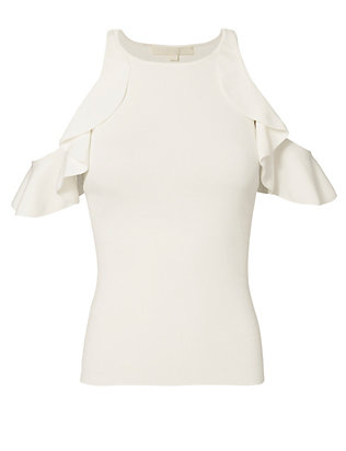 Jonathan Simkhai Ruffled Cold Shoulder Top
