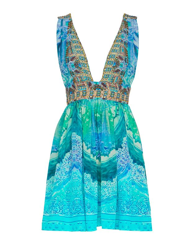 Camilla Crystal Detail Baby Doll Tie Waist Print Dress