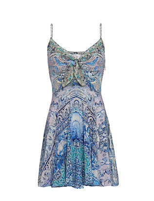 Camilla Tie Front Embellished Print Dress