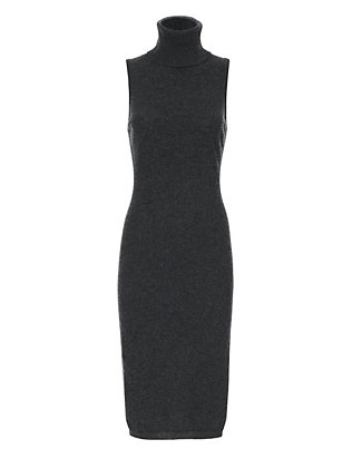 Autumn Cashmere Sleeveless Turtleneck Dress: Charcoal