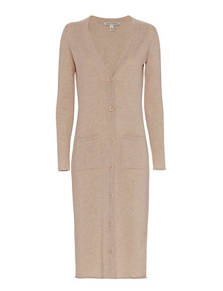 Autumn Cashmere Midi Ribbed Cardi: Blush