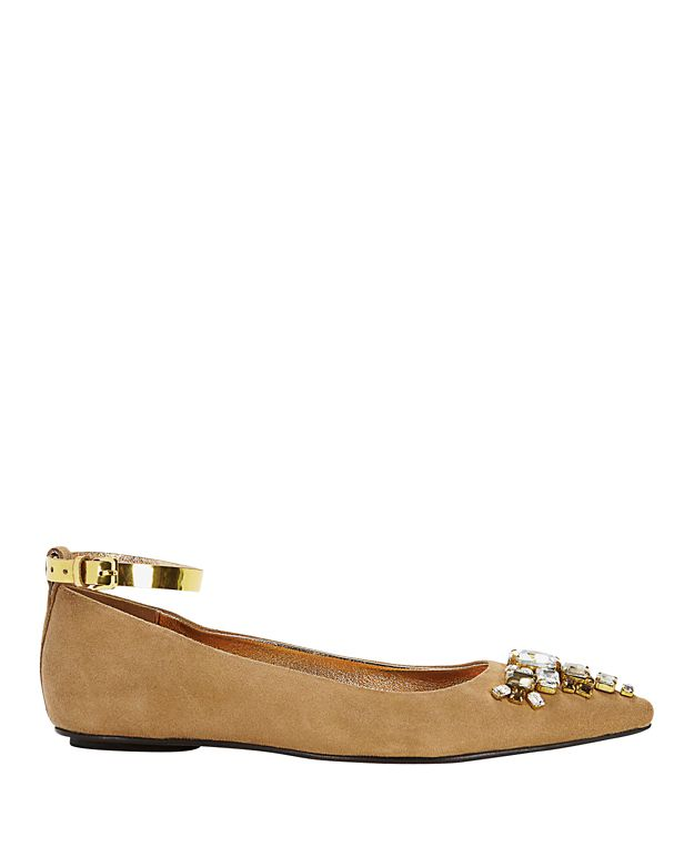 Sanchita Bejeweled Pointy Toe Suede Flat: Beige