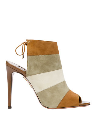 Aquazzura Neutral Colorblock Suede Sandal