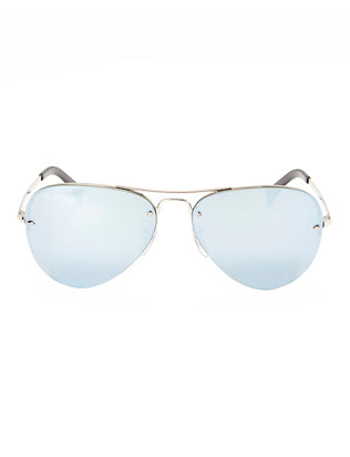 Ray-Ban Rimless Metallic Aviator Sunglasses: Silver