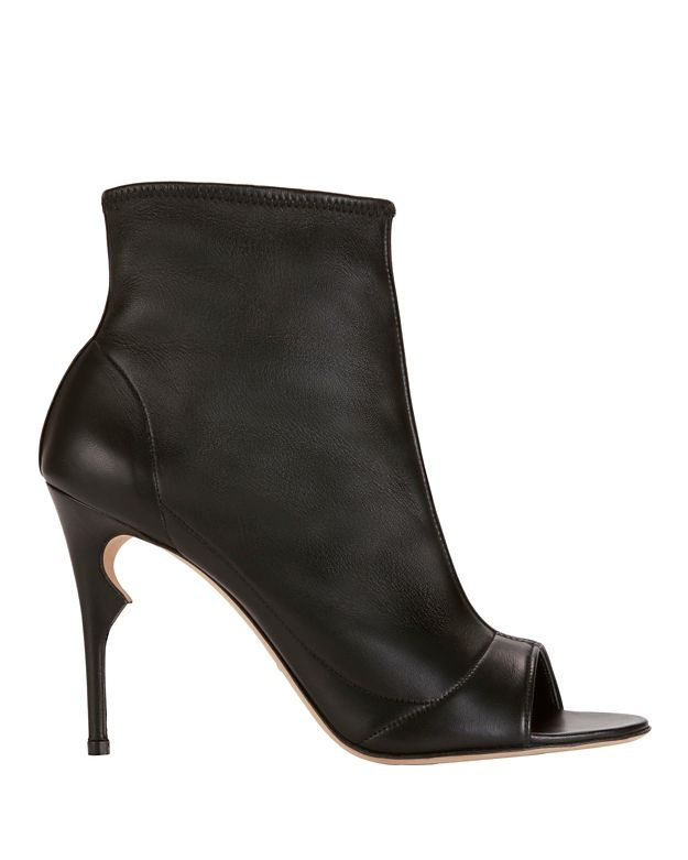 Jerome C. Rousseau Peep-Toe Leather Bootie: Black
