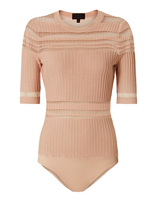 Exclusive for Intermix Willa Striped Bodysuit: Blush