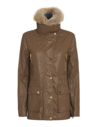 Veronica Beard Fur Collar Coated Cotton Coat
