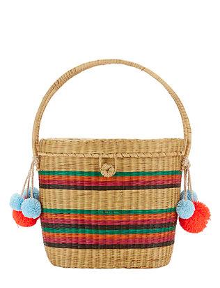 Cinto Rainbow Stripe Straw Box Bag