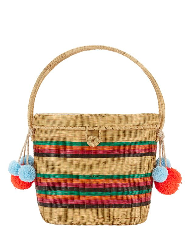 Sophie Anderson Cinto Rainbow Stripe Straw Box Bag