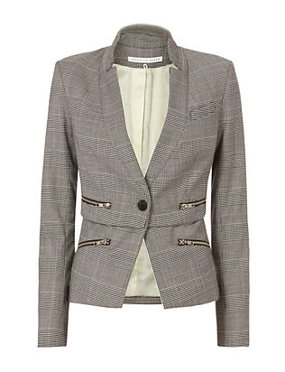 Inverted Collar Check Jacket