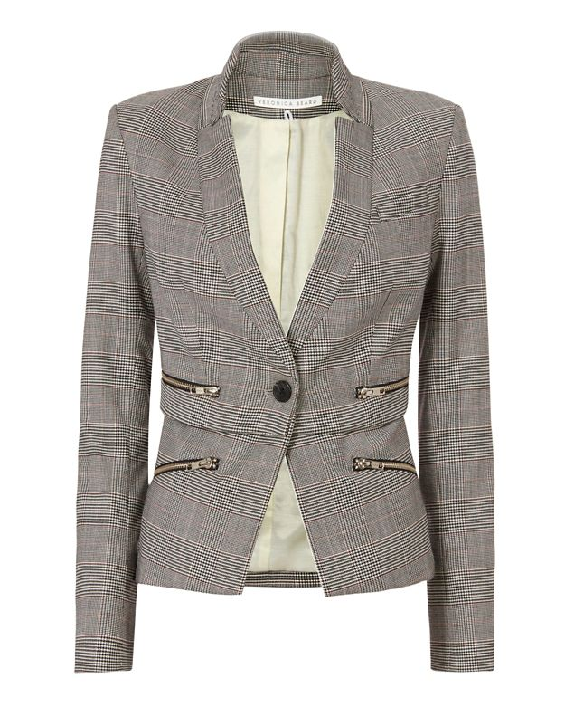 Veronica Beard Inverted Collar Check Jacket