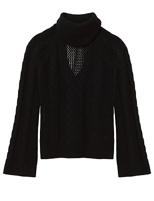 Exclusive for Intermix Carmen Collared V Neck Braided Sweater: Black