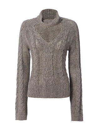 Exclusive for Intermix Carmen Collared V-Neck Braided Sweater