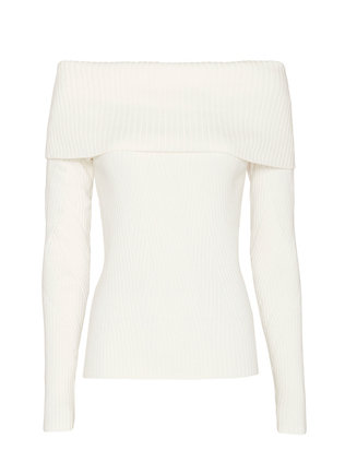 Exclusive for Intermix Sylvie Pattern Off The Shoulder Knit: White