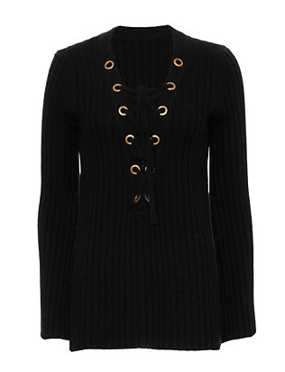 Exclusive for Intermix Bell Sleeve Lace-Up Sweater